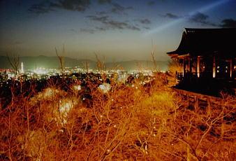 清水の舞台から眺めた京都市街の夜景